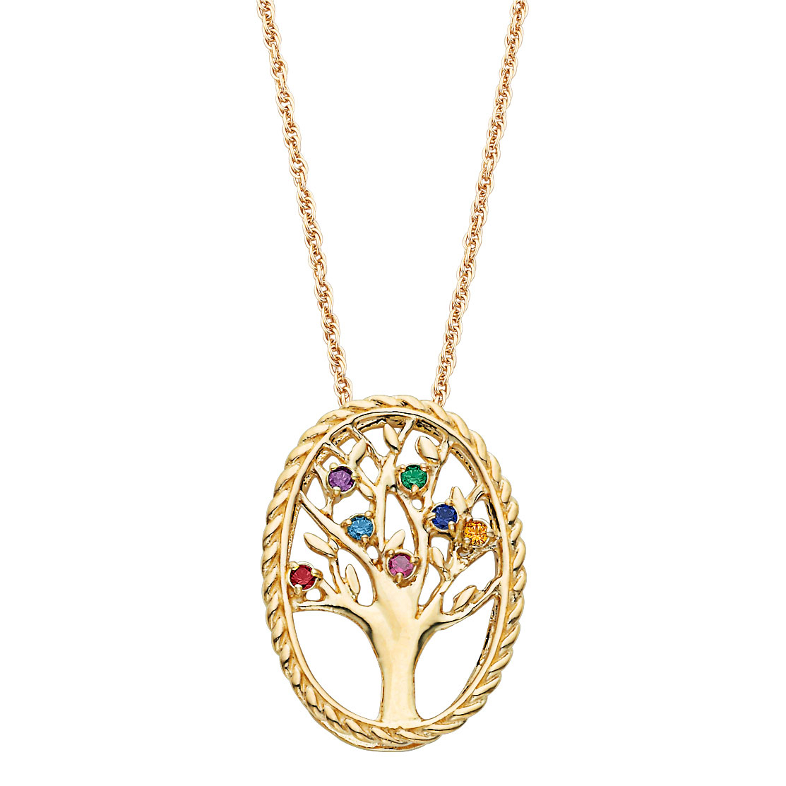 Mother's Simulated Birthstone Family Tree Pendant In Sterling Silver With  18K Gold Plate (2 10 Stones) – 20"