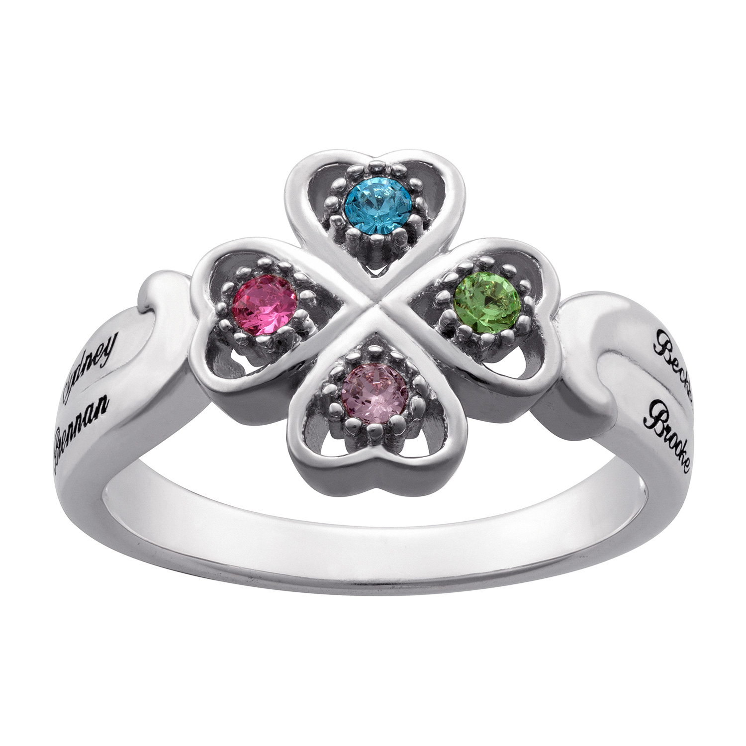 Mother's Simulated Birthstone Four Leaf Clover Ring In Sterling Silver (1 4  Stones And Names)|Zales With Newest Lucky Four Leaf Clover Open Rings (View 17 of 25)