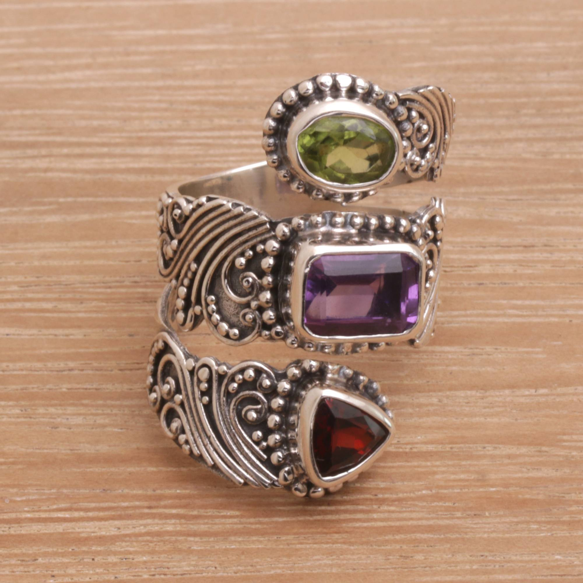 Multi Gemstone And Sterling Silver Wrap Ring From Bali, 'elegant Trinity' With Regard To Most Popular Elegant Sparkle Rings (Gallery 23 of 25)