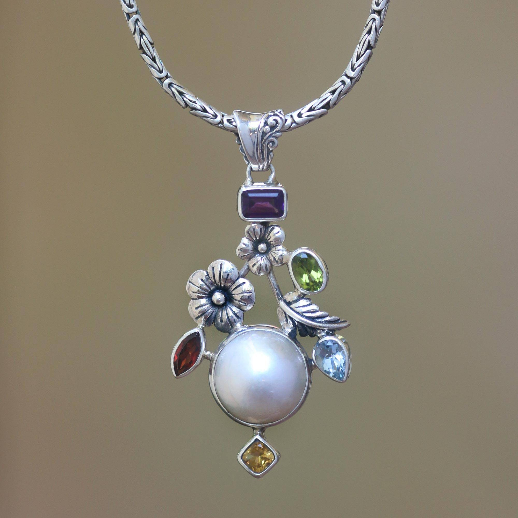Multi Gemstone Floral Sterling Silver Pendant Necklace, 'goddess Garden' For Best And Newest Female Empowerment Motto Pendant Necklaces (Gallery 20 of 25)