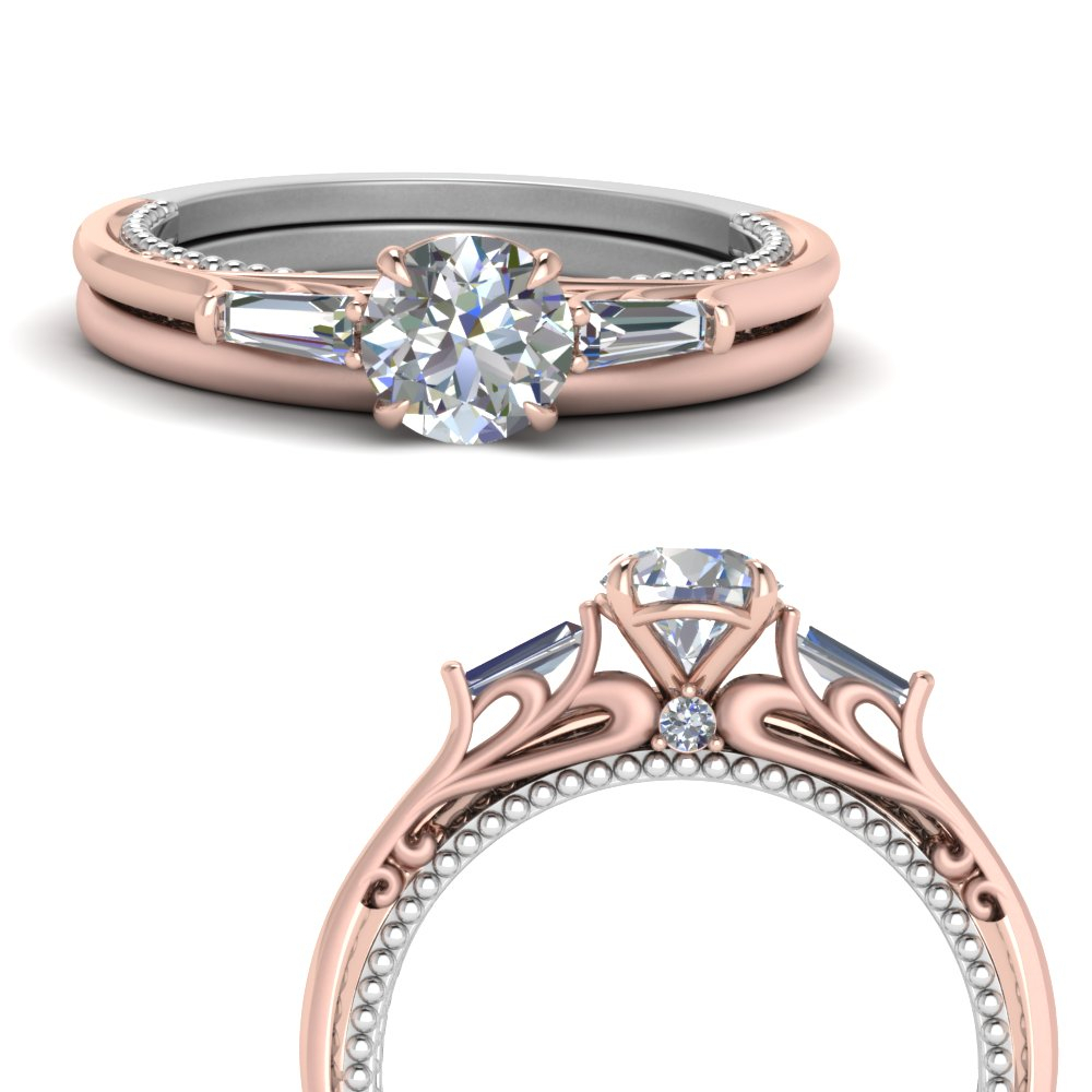 Multi Gold 3 Stone Baguette Wedding Set In 14K Rose Gold Regarding Most Recent Baguette And Round Diamond Alternating Multi Row Anniversary Bands In White Gold (Gallery 16 of 25)