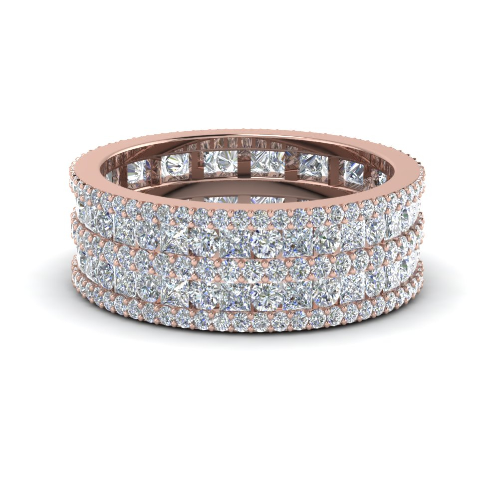 Multi Row Diamond Eternity Ring (3 Ctw) Regarding 2020 Diamond Three Row Anniversary Bands In Rose Gold (View 10 of 25)