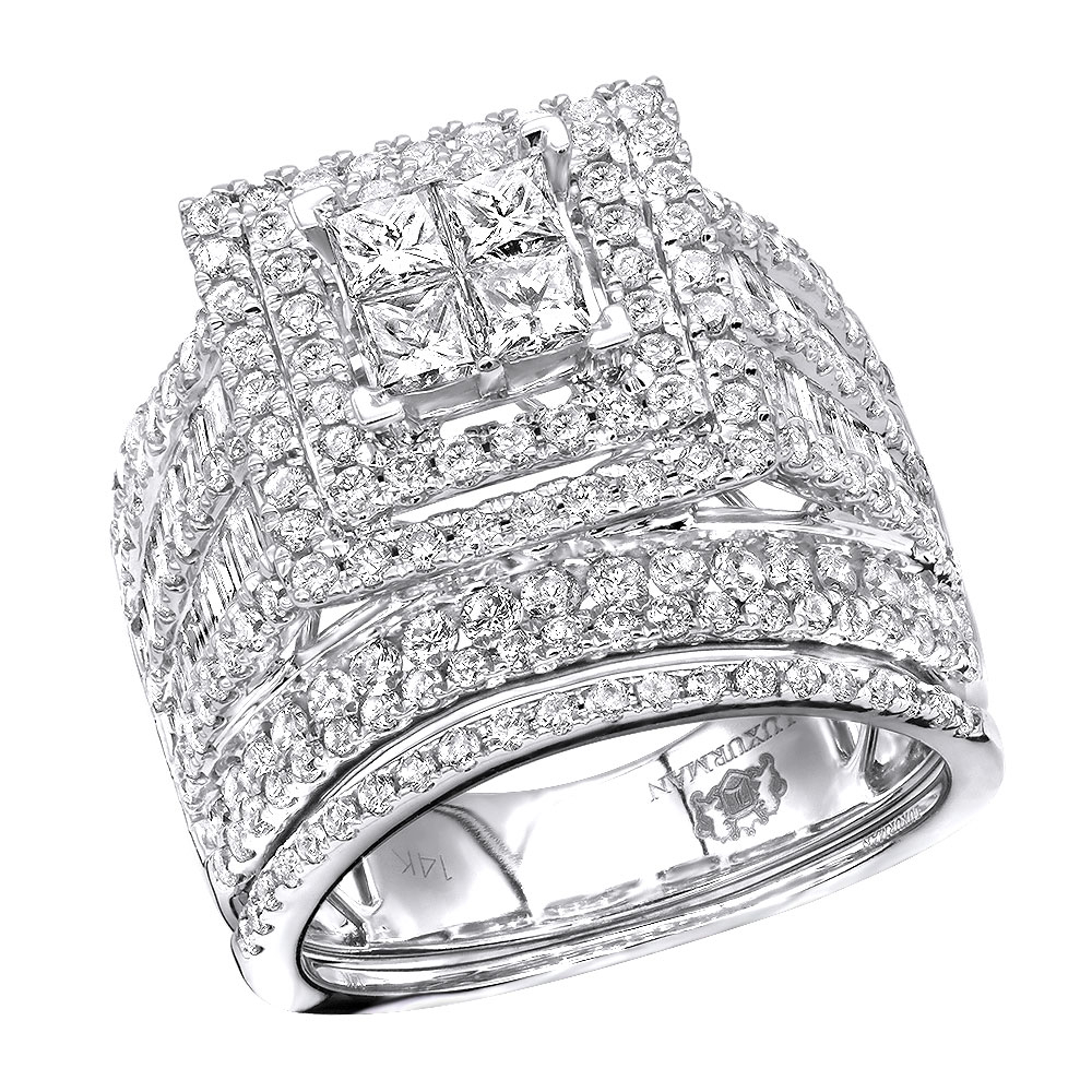 Multi Row Round & Princess Cut Diamond Engagement Ring Set 14K Gold  (View 20 of 25)