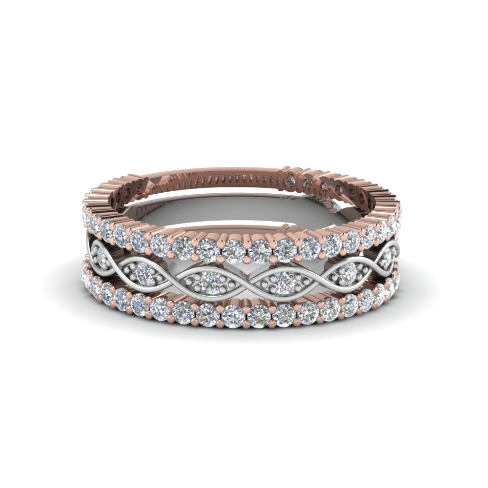 Multi Stack 2 Tone Diamond Wedding Band Pertaining To 2020 Diamond Anniversary Bands In Rose Gold (View 7 of 25)
