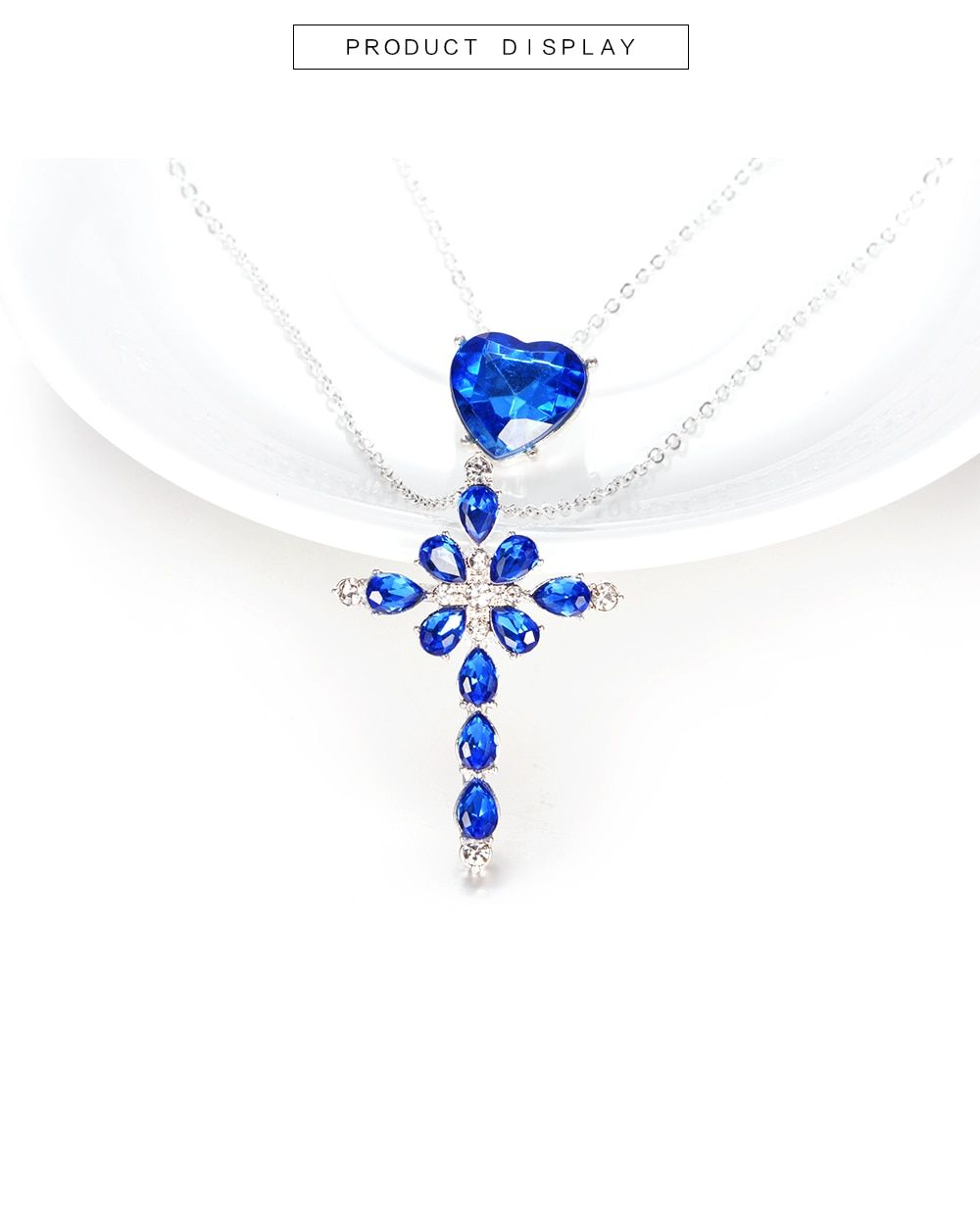 Multilayer Blue Crystal Heart Cross Pendant Necklace | Cross Inside Most Up To Date Ice Crystal Heart Collier Necklaces (Gallery 21 of 25)