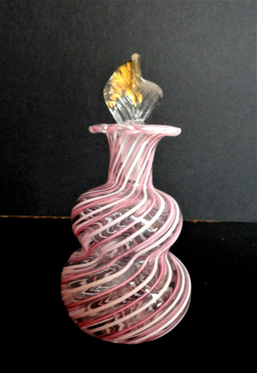 Murano Perfume Bottle Pink And White Swirl With Gold Leaf To With Regard To 2018 Pink Murano Glass Leaf Rings (Gallery 24 of 25)
