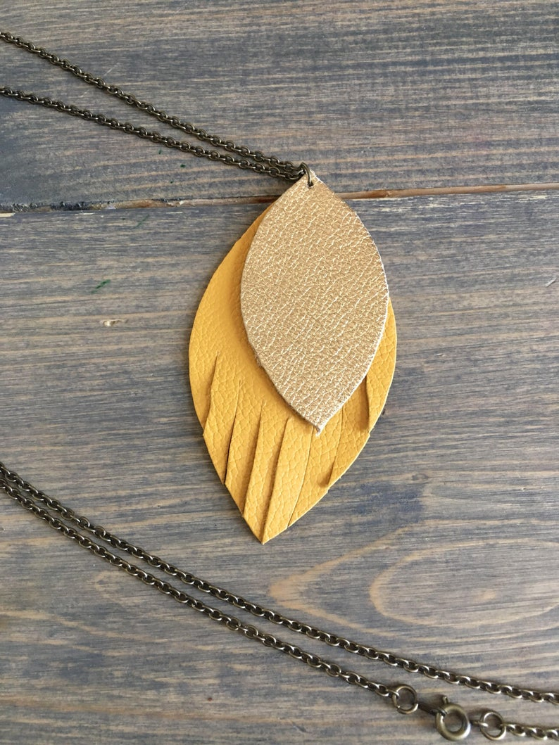 Mustard And Gold Fringe Leather Necklace – Yellow And Gold Layered Pendant  Necklace – Leather Jewelry – Long Necklace In Most Current Golden Tan Leather Feather Choker Necklaces (View 15 of 25)