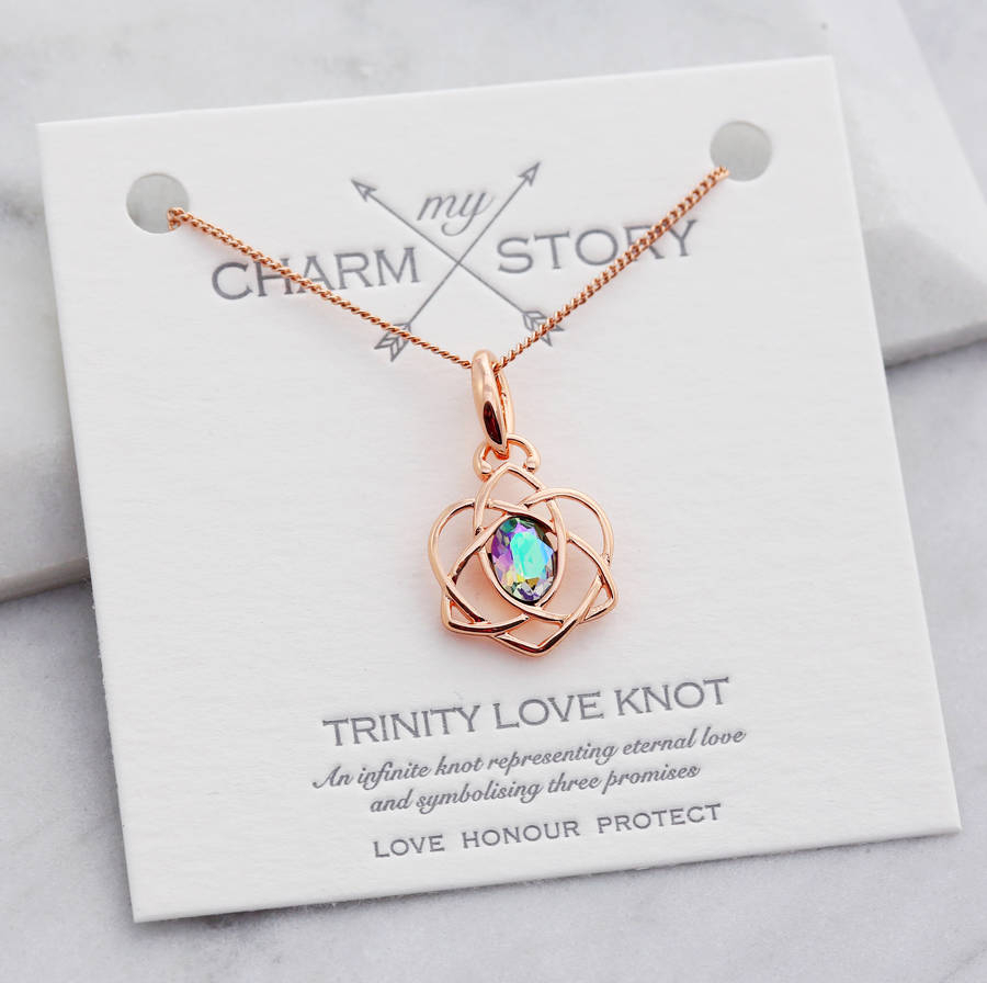 My Charm Story Trinity Love Knot Necklace Pertaining To Best And Newest Shimmering Knot Locket Element Necklaces (View 15 of 25)