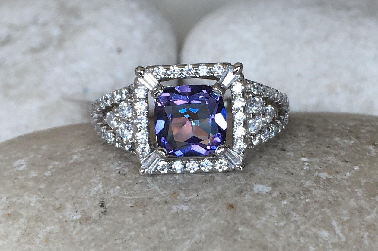 Mystic Topaz Engagement Ring  Deco Square Halo Solitaire Ring  Square  Gemstone Engagement Ring  Purple Blue Anniversary Split Ring Within Best And Newest Blue Square Sparkle Halo Rings (Gallery 15 of 25)