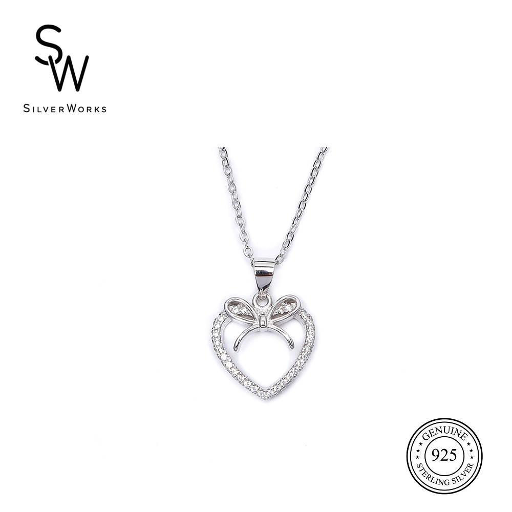 N3801 Open Heart With Ribbon Design Necklace Pertaining To Most Current Ribbon Open Heart Necklaces (View 4 of 25)