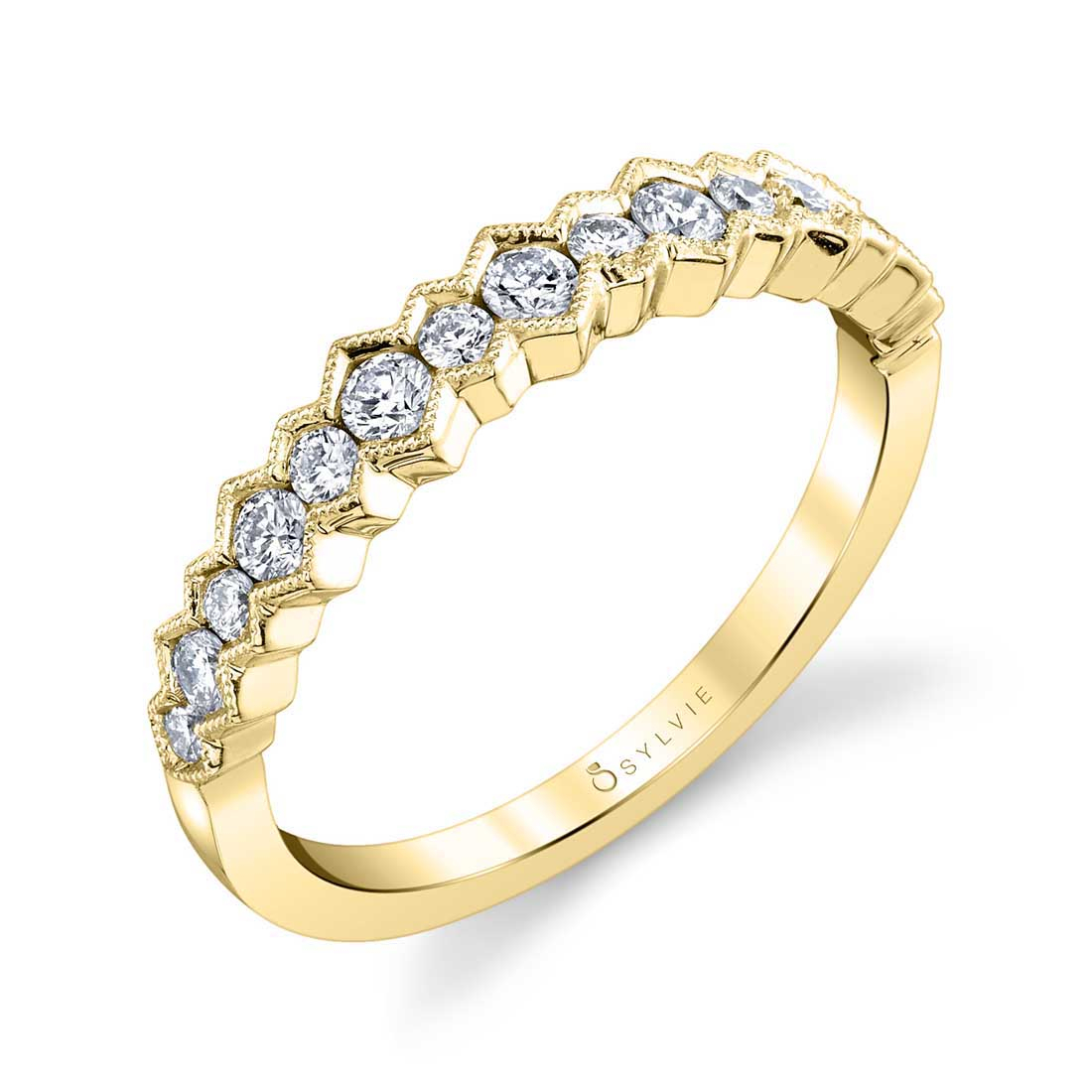 Naelle – Modern Wedding Band B0058 Yg With Regard To Current Diamond Frame Anniversary Bands In Gold (View 18 of 25)