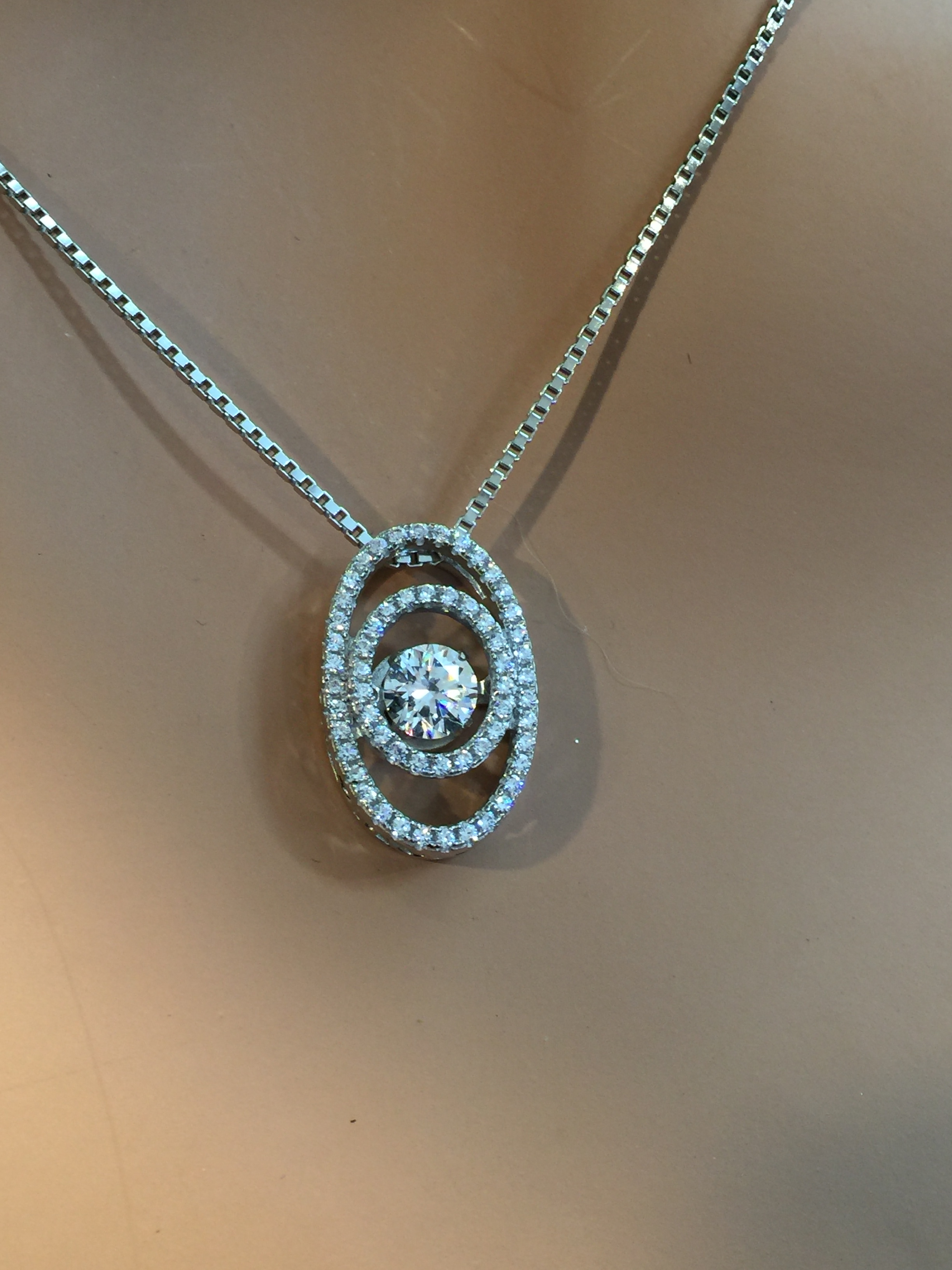 Nana Jewels Sterling Silver & Cz Oval Double Halo Dancing Diamond Pendant  With A  (View 13 of 25)