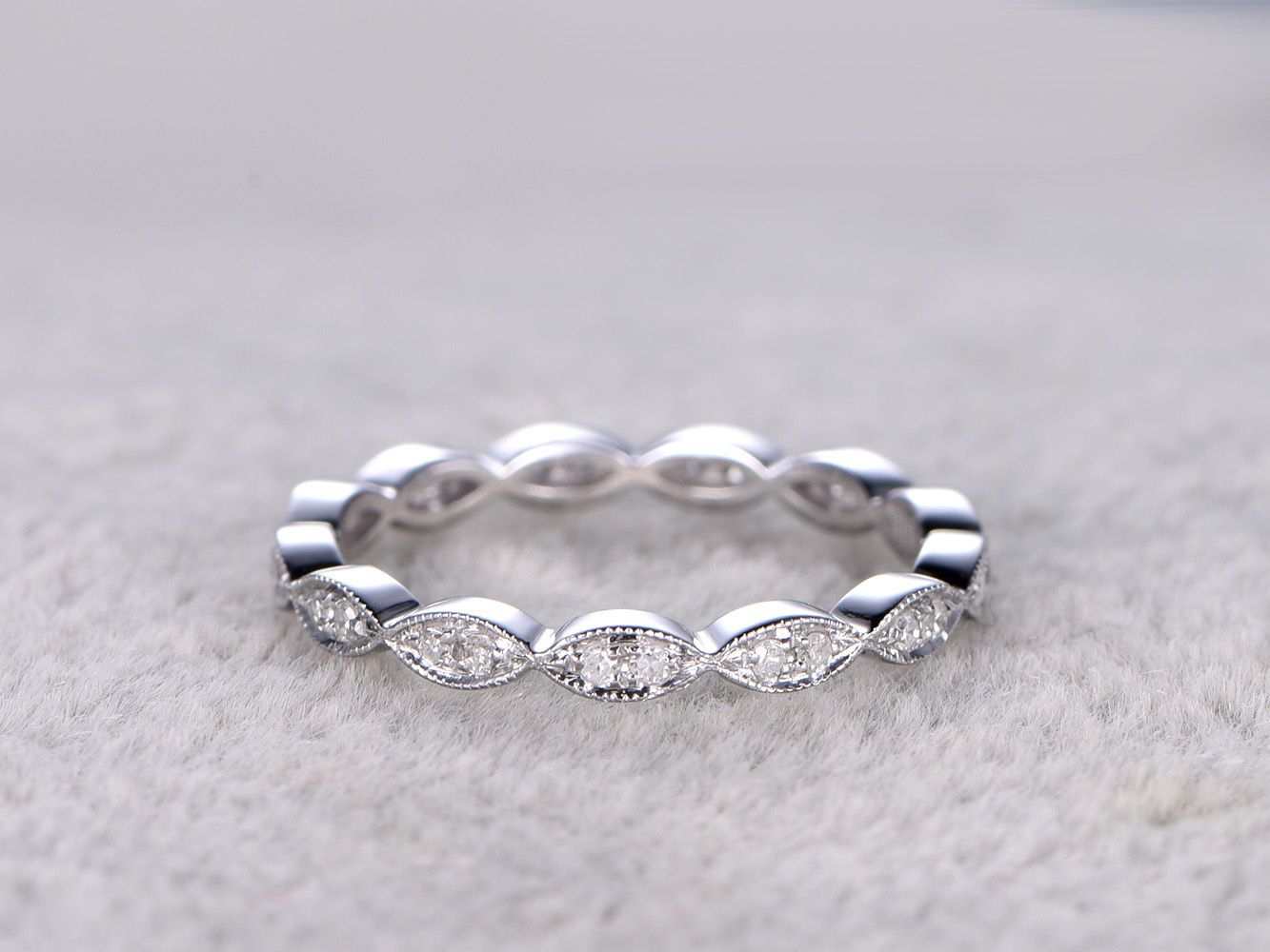 Natural Diamonds,full Eternity Wedding Ring,solid 14K White Intended For Most Up To Date Diamond Art Deco Inspired Anniversary Bands In White Gold (Gallery 12 of 25)