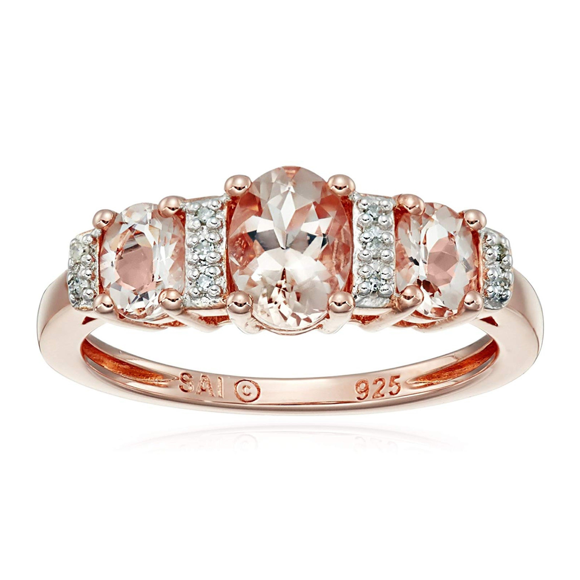 """Natural Morganite Three Stone Band Ring With Diamonds In 10K Rose Gold  Plated Sterling Silver – Pink Regarding Recent Diamond Seven Stone """"x"""" Anniversary Bands In Sterling Silver And Rose Gold (Gallery 1 of 25)"""