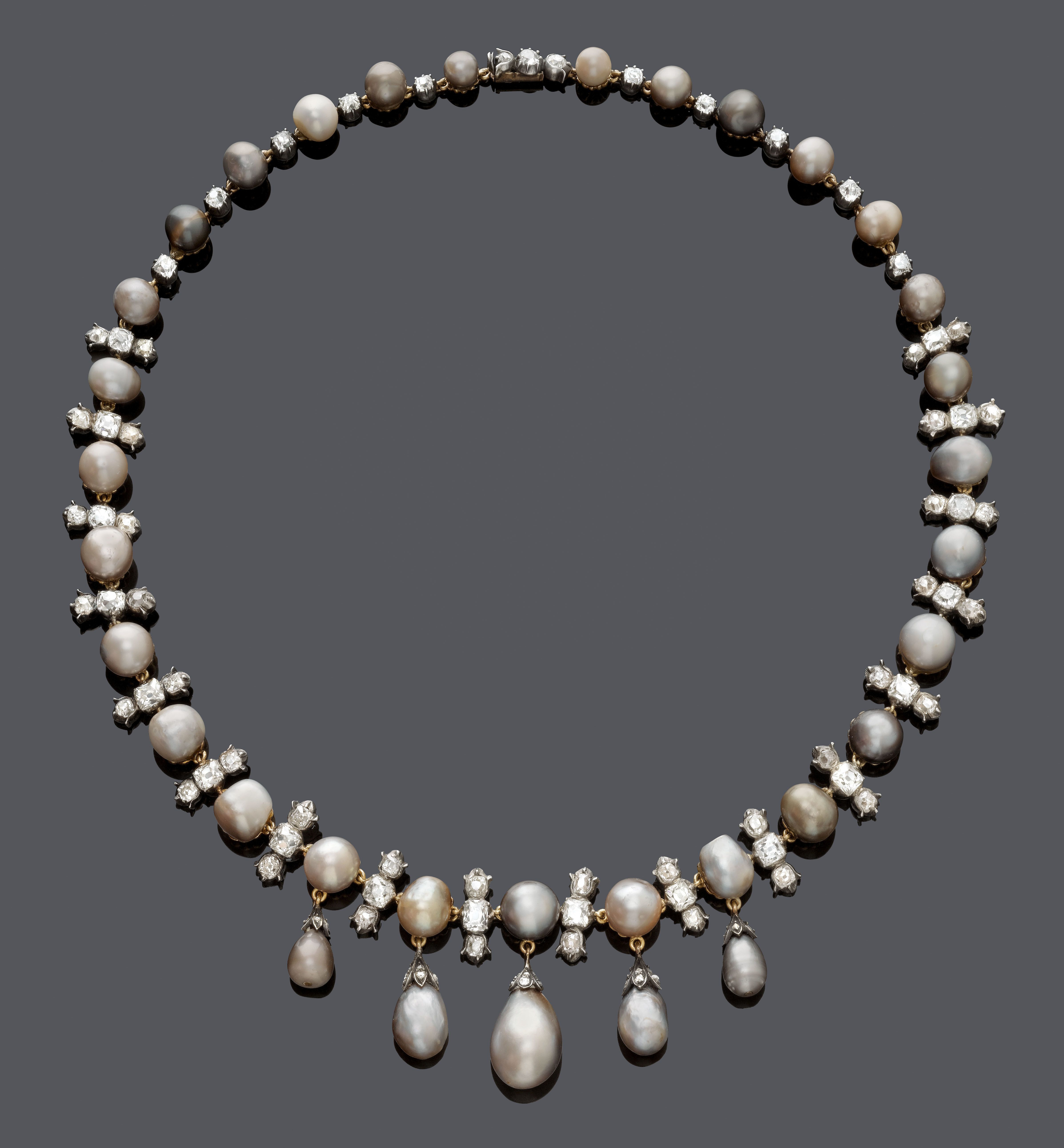 Natural Pearl And Diamond Necklace, About 1900 | Estate Jewelry With Most Popular Offset Freshwater Cultured Pearl Circle Necklaces (View 6 of 25)