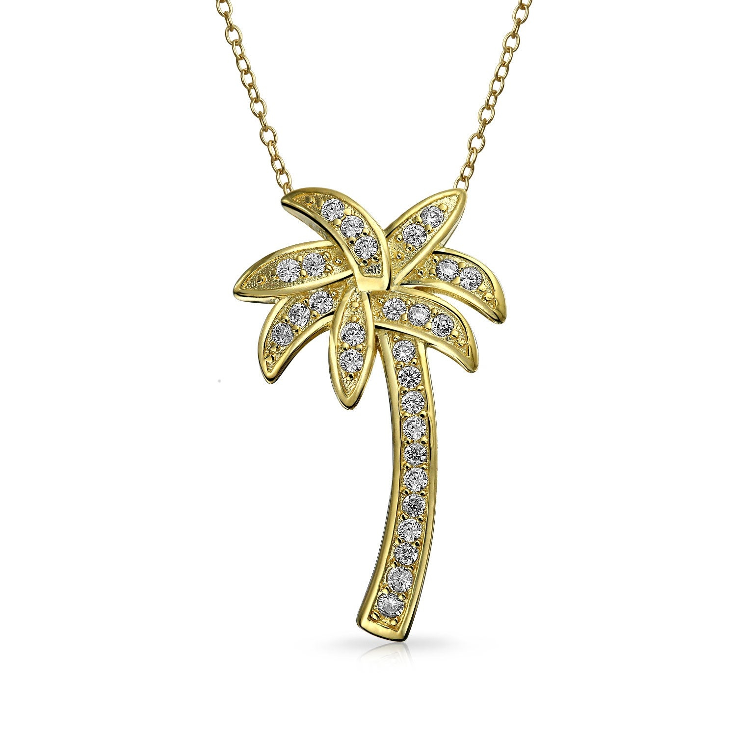 Nautical Palm Tree Tropical Beach Pendant Pave Cubic Zirconia Cz For Women Necklace 14k Gold Plated 925 Sterling Silver Throughout Best And Newest Tropical Palm Pendant Necklaces (View 5 of 25)