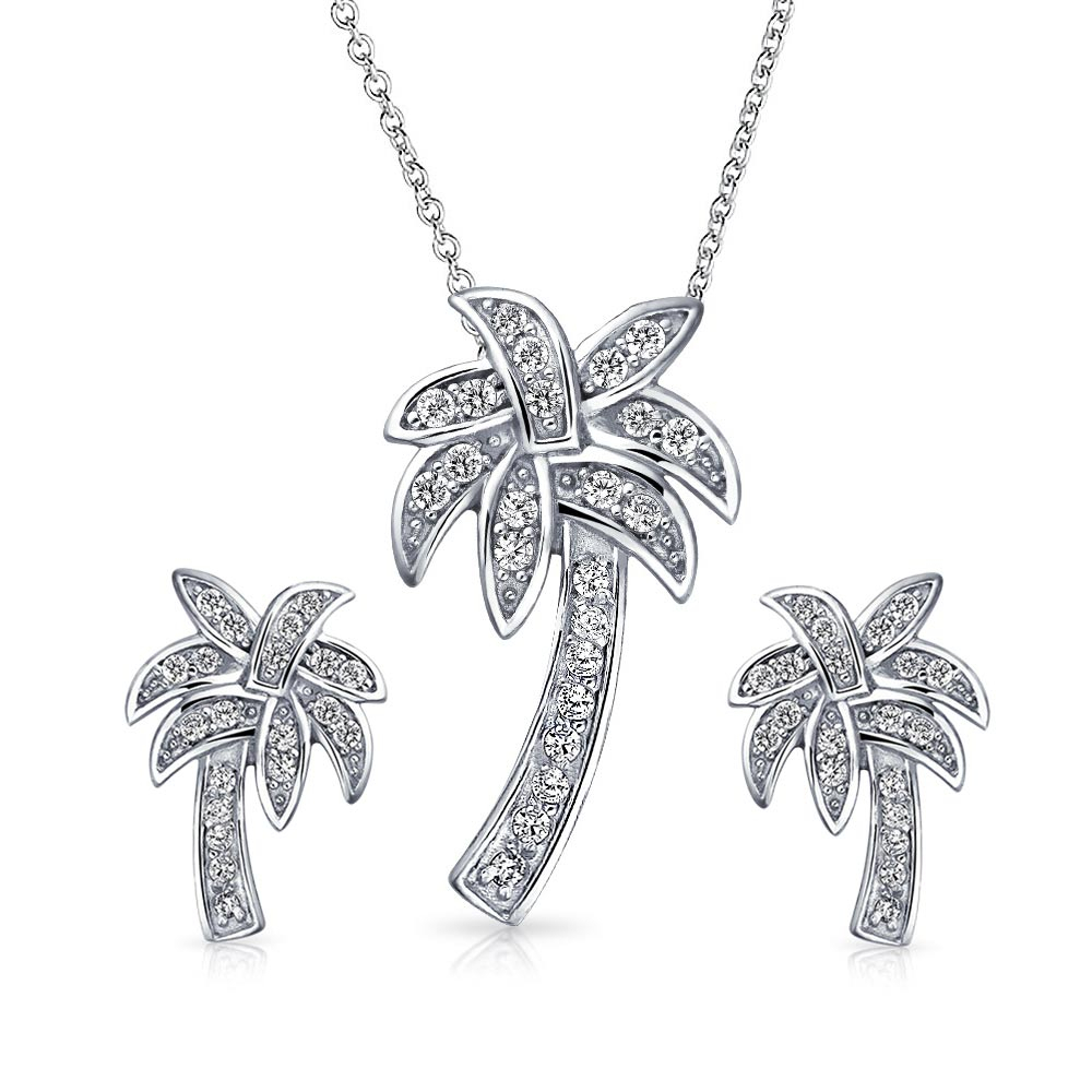 Nautical Pave Cubic Zirconia Cz Tropical Palm Tree Pendant Necklace Earrings Jewelry Set For Women 925 Sterling Silver With Regard To Current Tropical Palm Pendant Necklaces (View 10 of 25)