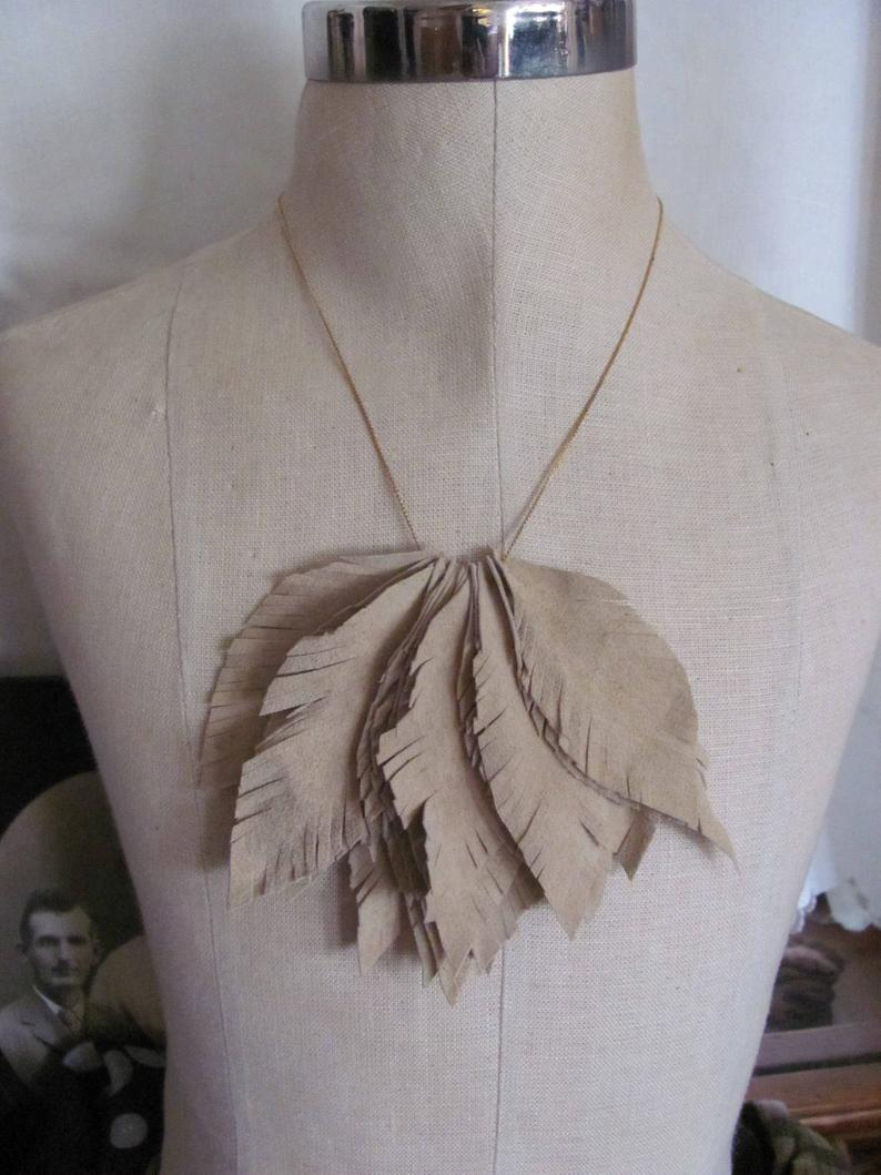 Necklace Beautiful Beige Suede Leather Feather Style Necklace Inside Best And Newest Golden Tan Leather Feather Choker Necklaces (View 16 of 25)