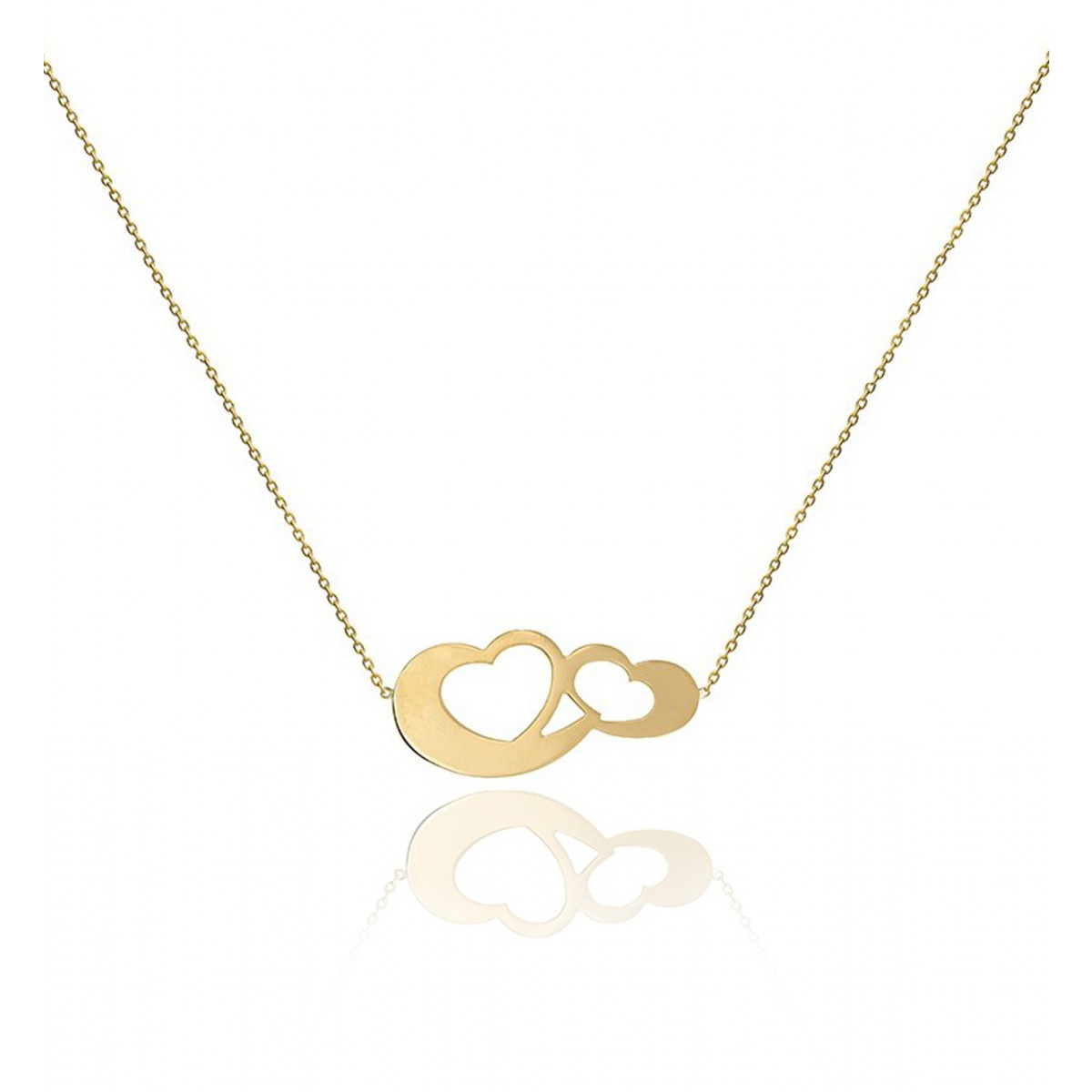 Necklace Chain Motif 2 Hearts Bound 18K Gold – Be Jewels! Within Most Recent Interlocked Hearts Collier Necklaces (View 11 of 25)