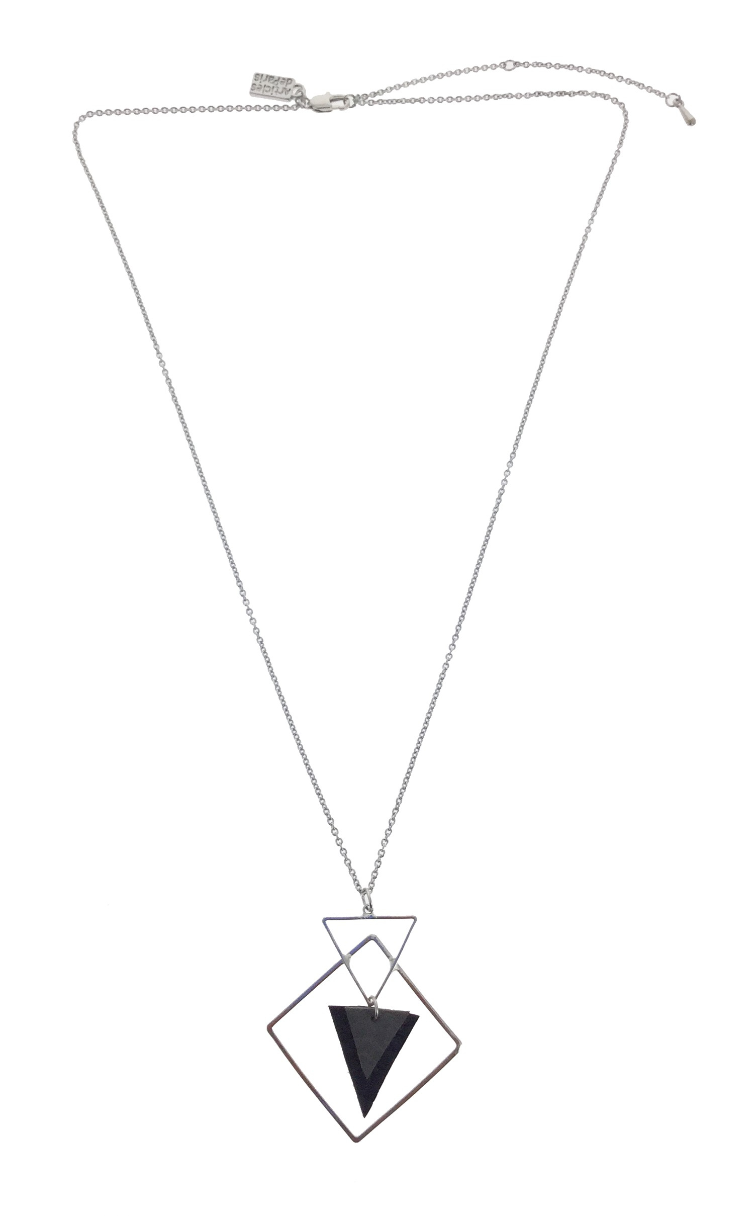 Necklace – Geometric Shapes With Fabric Triangle Within (View 18 of 25)