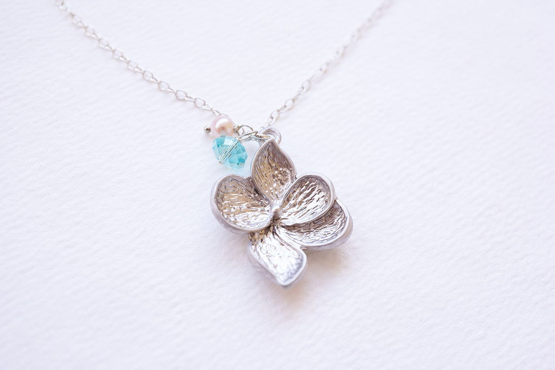 Necklace, Silver Necklace, Flower Necklace, Crystal Necklace, Pearl  Necklace, Turquoise Necklace, Swarovski Necklace, Gift For Her, Gift With Regard To Most Popular Pink Cherry Blossom Flower Locket Element Necklaces (View 12 of 25)