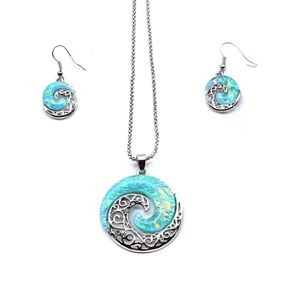 Necklace Snake Chain Earring Matching Set Blue Sparkle Hawaii Wave Circle  Totem Pertaining To Most Up To Date Circle Of Sparkle Necklaces (View 17 of 25)