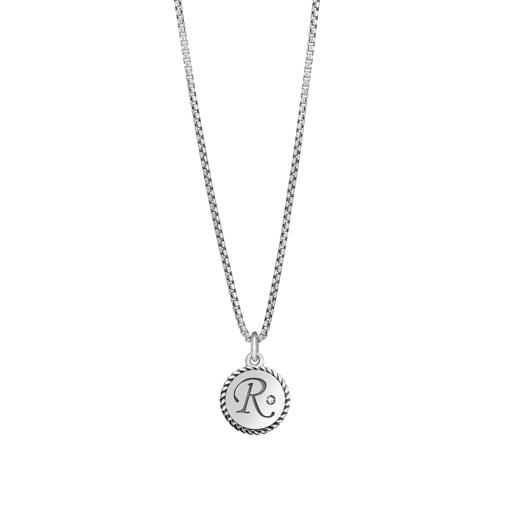 Necklace With Letter R In Silver And Gemstone Within Most Popular Letter P Alphabet Locket Element Necklaces (View 16 of 26)