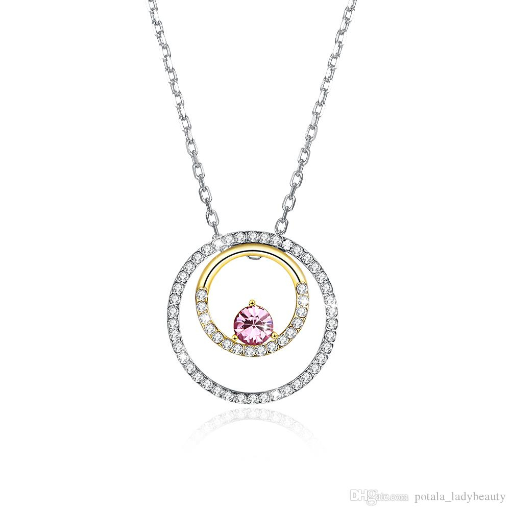 Necklaces Crystal From Swarovski Elements S925 Sterling Silver Ferrule  Color Separation Multiple Wearing Pendant Necklace Gifts Potala311 With Regard To Most Up To Date Sparkling Infinity Locket Element Necklaces (Gallery 13 of 25)