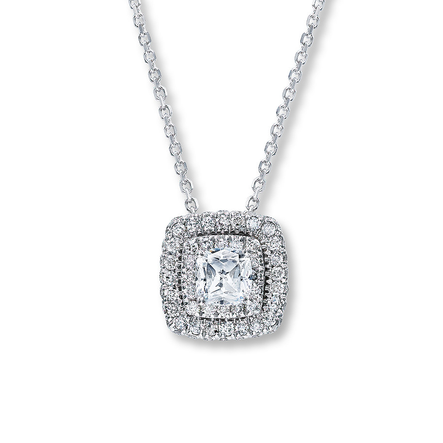 Neil Lane Designs 1 Ct Tw Diamond Necklace 14K White Gold Intended For Most Popular Square Sparkle Halo Pendant Necklaces (View 8 of 25)
