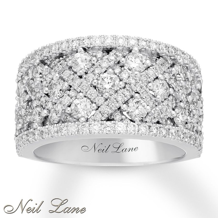 Neil Lane Diamond Anniversary Band 2 Ct Tw 14K White Gold In 2019 In Most Popular Sparkling & Polished Lines Rings (View 13 of 25)