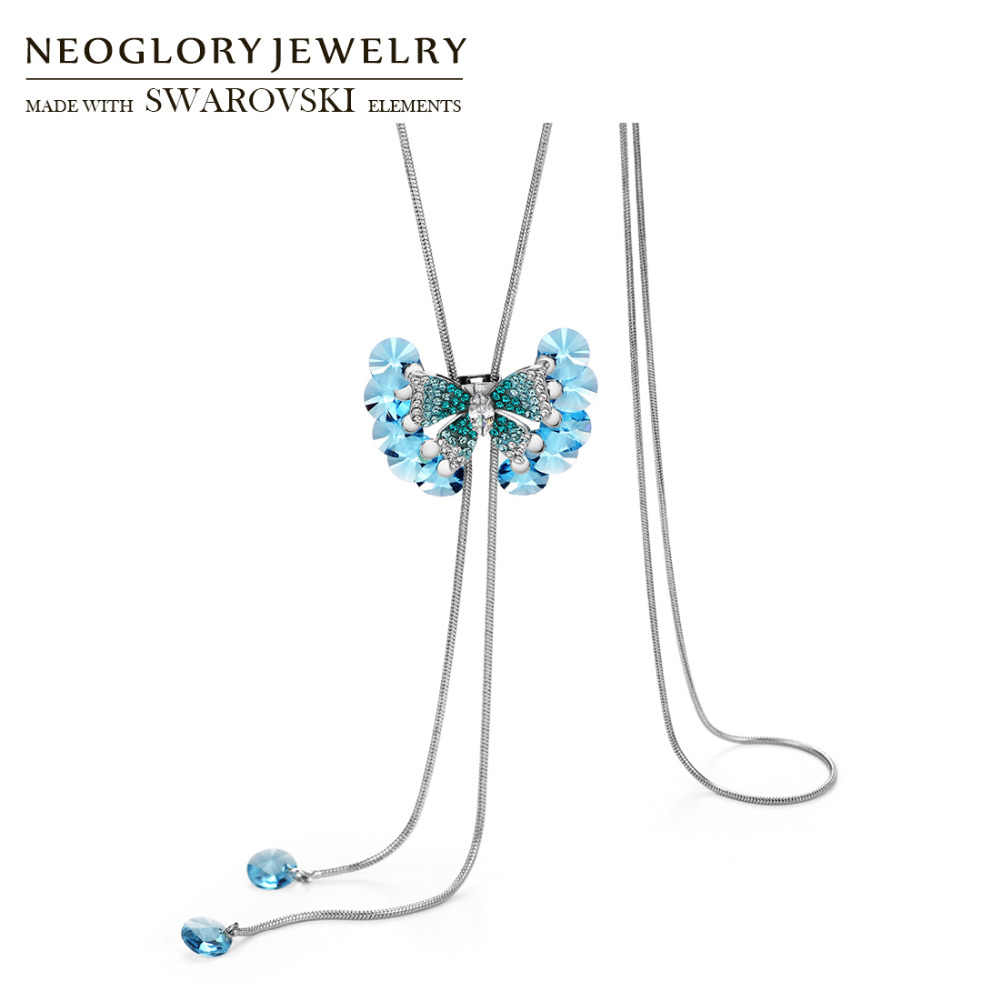 Neoglory Crystal & Rhinestone Long Charm Sweater Necklace Blue Classic  Butterfly Style Embellished With Crystals From Swarovski Intended For 2020 Classic Flower Locket Element Necklaces (View 20 of 25)