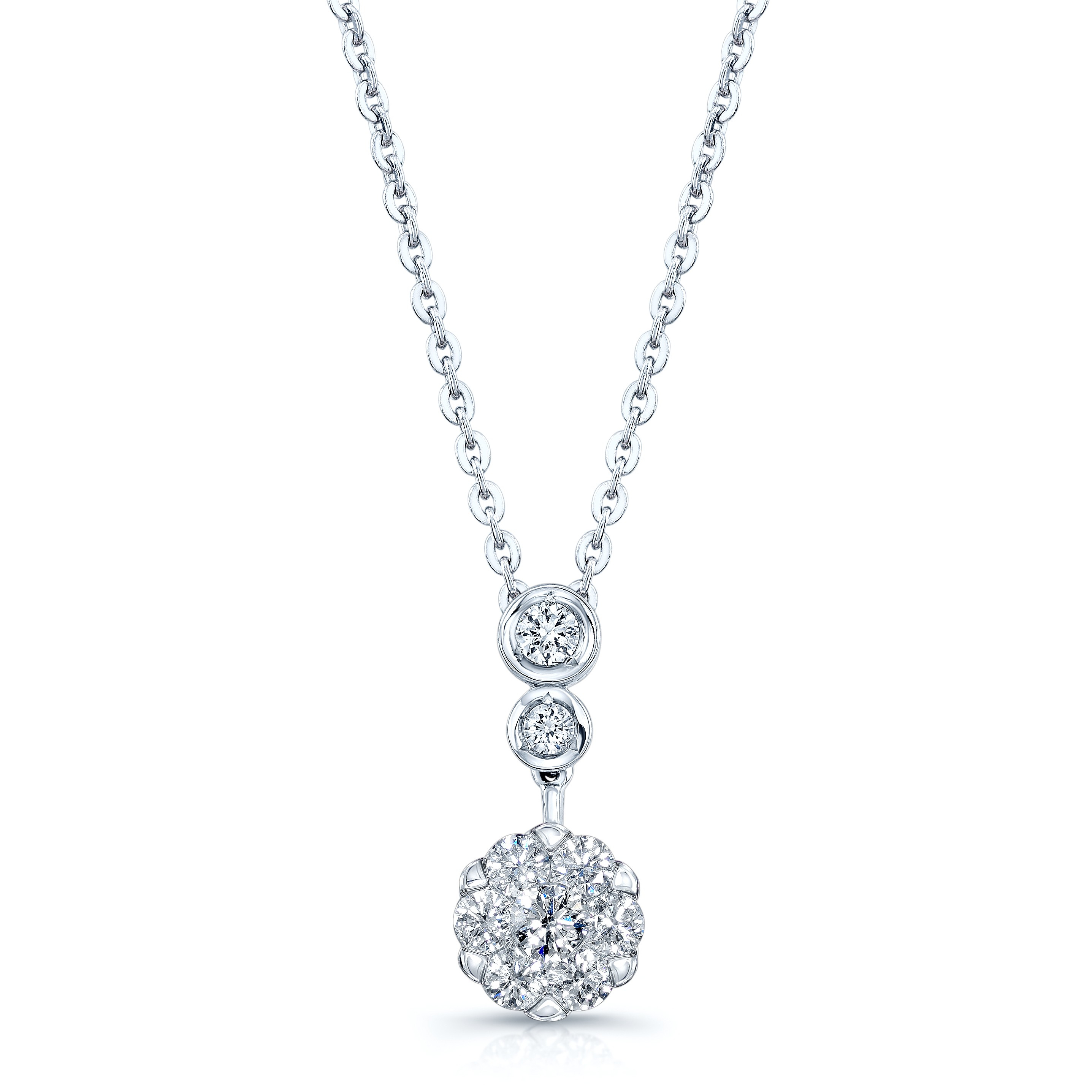 Neti .30 Carat Round Cut Halo Diamond Necklace 14K With Most Recently Released Round Sparkle Halo Necklaces (Gallery 23 of 25)