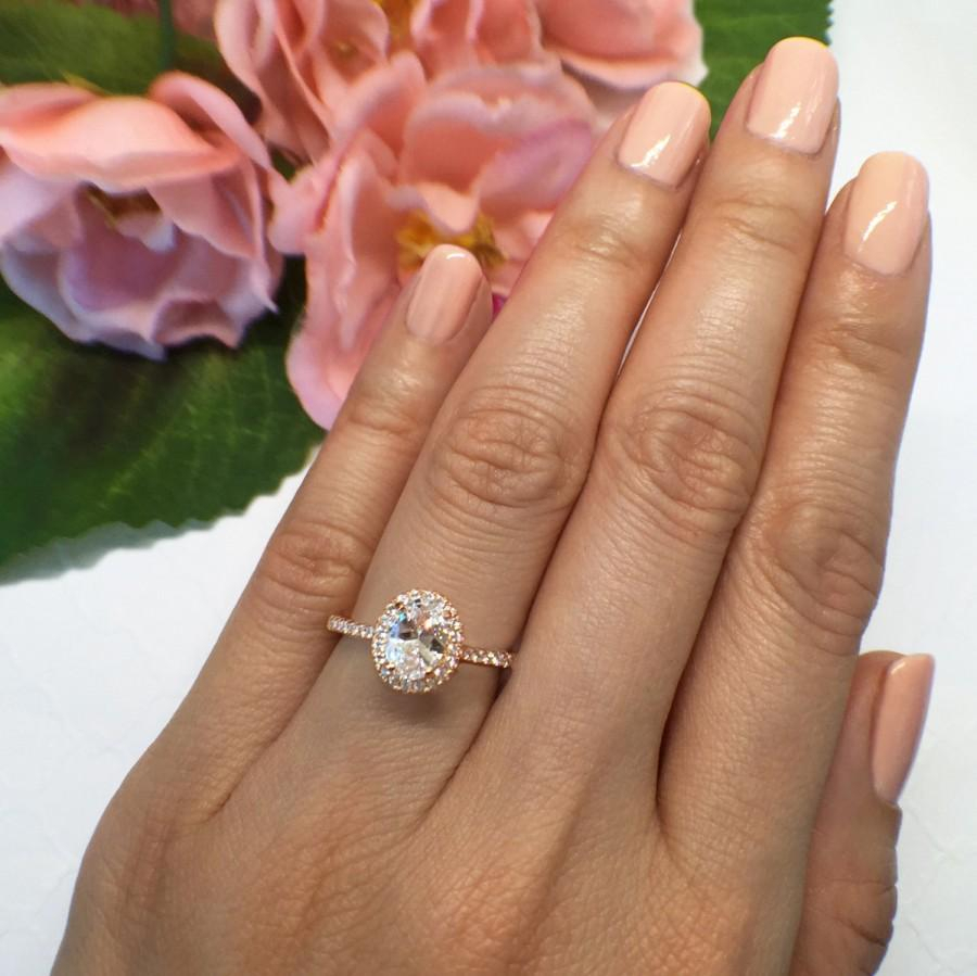 New! 1 Ctw, 3/4 Ct Oval Halo Engagement Ring, Classic Halo Ring, Man In Recent Classic Sparkle Halo Rings (Gallery 15 of 25)