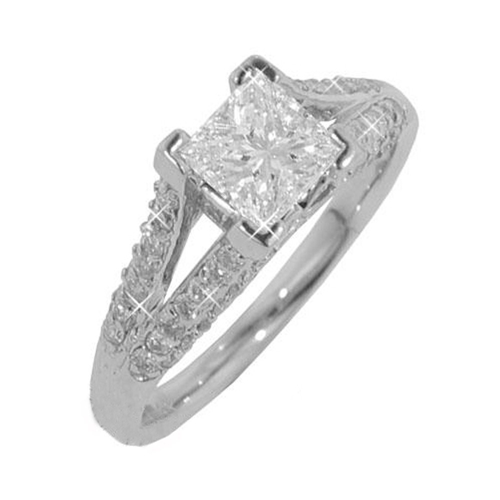 New 2.14Ct Princess Cut Diamond Engagement Ring 14Kt White With Regard To 2020 Certified Princess Cut Diamond Anniversary Bands In White Gold (Gallery 22 of 25)