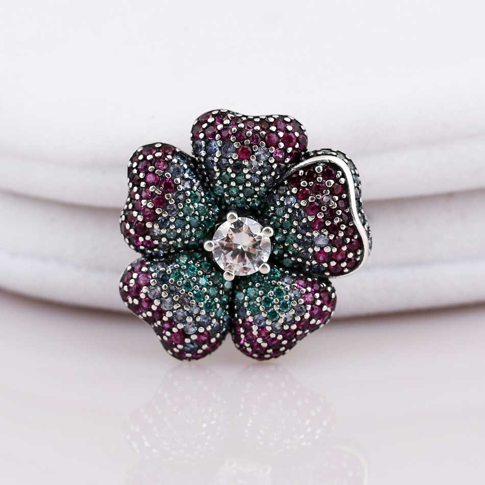 New 925 Sterling Silver Bead Charm Glorious Bloom Flower With Multi Colored  Cz Necklace Pendant Fit Pandora Bracelet Diy Jewelry Pertaining To Most Current Glorious Bloom Pendant Necklaces (Gallery 5 of 25)