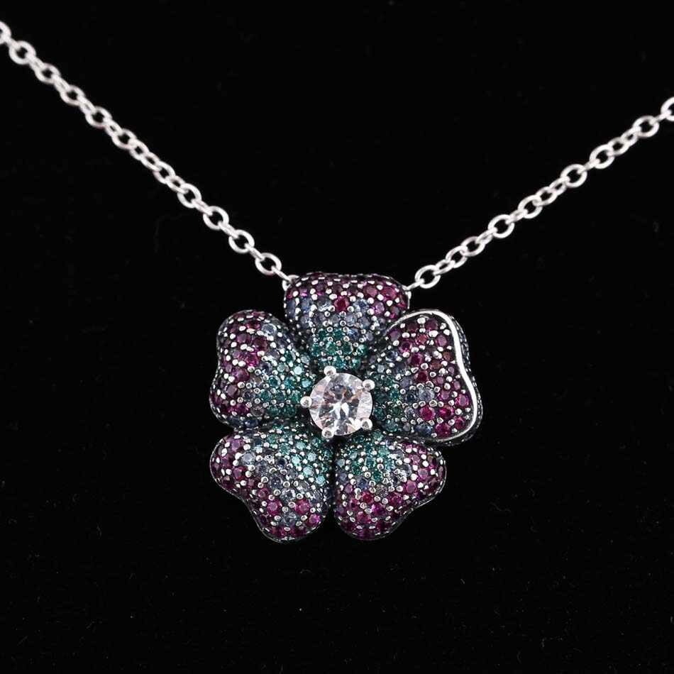 New 925 Sterling Silver Bead Charm Glorious Bloom Flower With Multi Colored Cz Necklace Pendant Fit Pandora Bracelet Diy Jewelry Regarding Most Popular Glorious Bloom Pendant Necklaces (View 2 of 25)