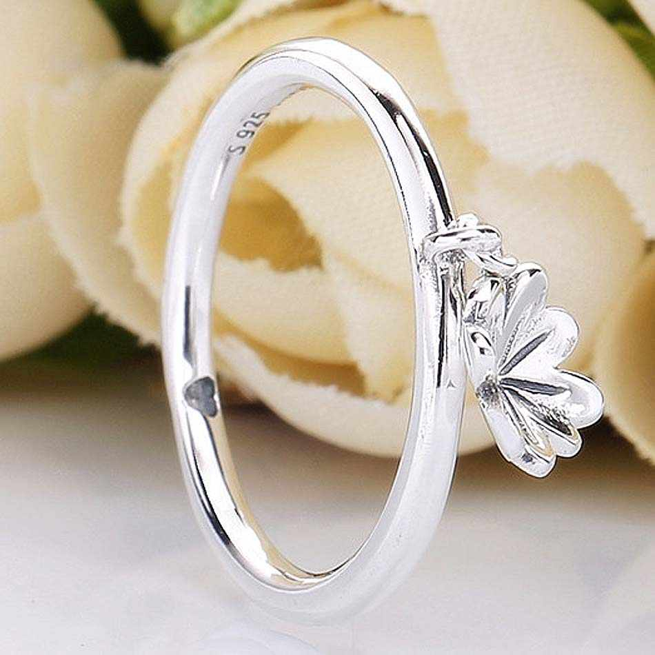 New 925 Sterling Silver Ring Hanging Lucky In Heart Clover Rings For Women  Wedding Party Gift Original Diy Jewelry With Regard To Recent Dangling Four Leaf Clover Rings (View 18 of 25)