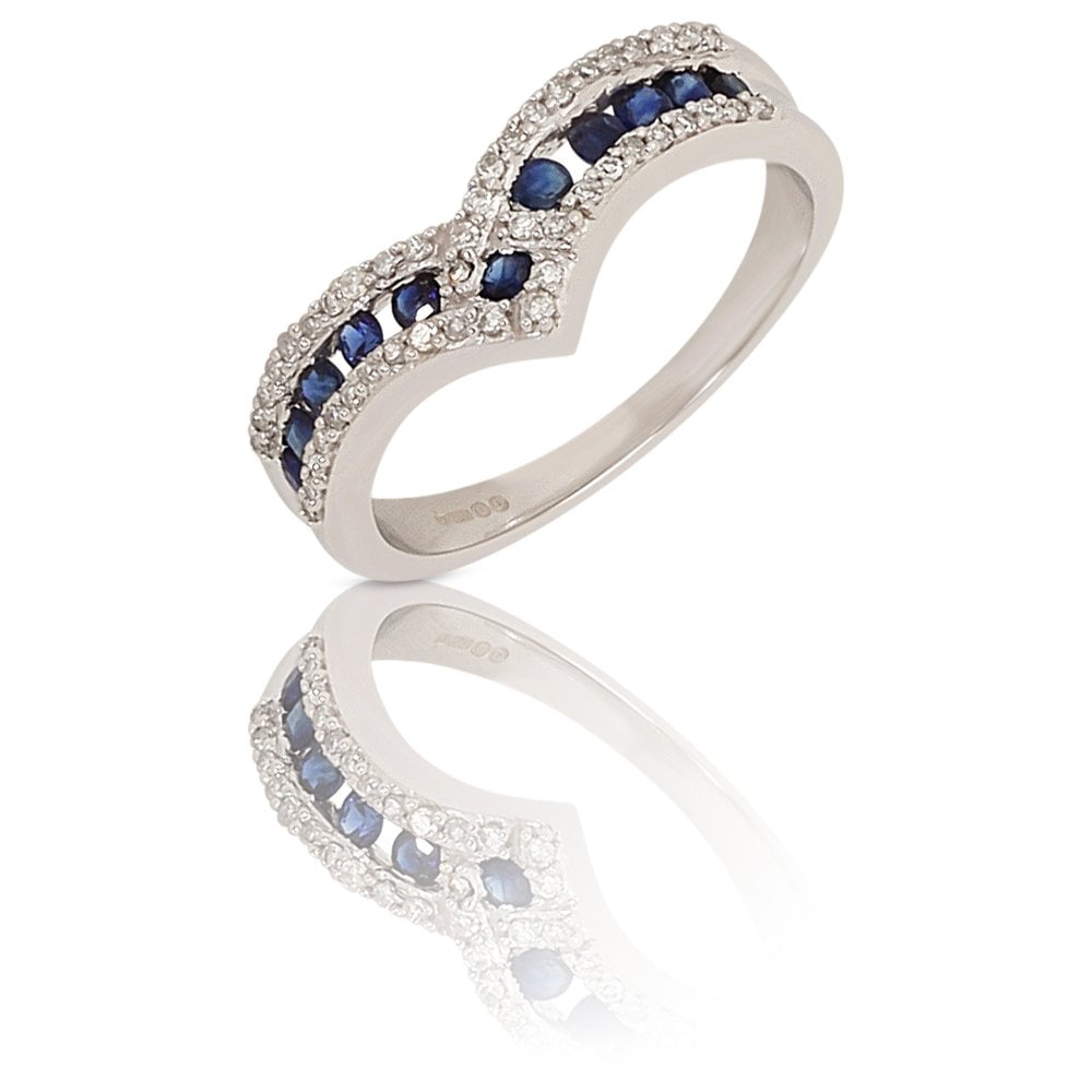 New 9ct White Gold Sapphire & Diamond Wishbone Ring Within Most Popular Classic Wishbone Rings (View 9 of 25)