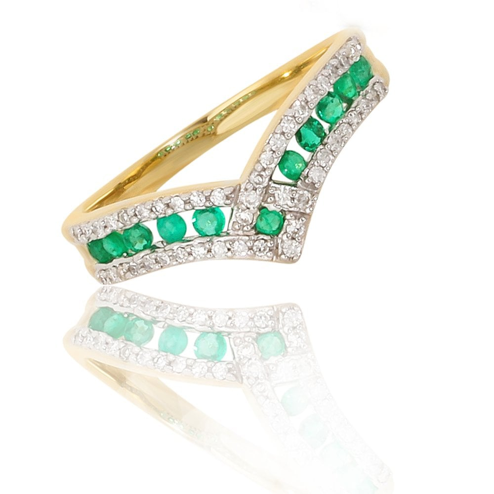 New 9Ct Yellow Gold Emerald &diamond Wishbone Eternity Ring Regarding Recent Sparkling Wishbone Rings (Gallery 17 of 25)