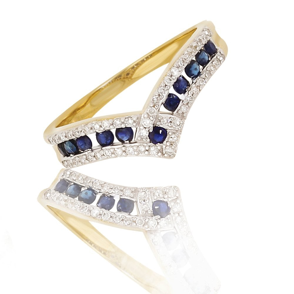 New 9Ct Yellow Gold Sapphire & Diamond Wishbone Ring Throughout 2017 Classic Wishbone Rings (View 14 of 25)