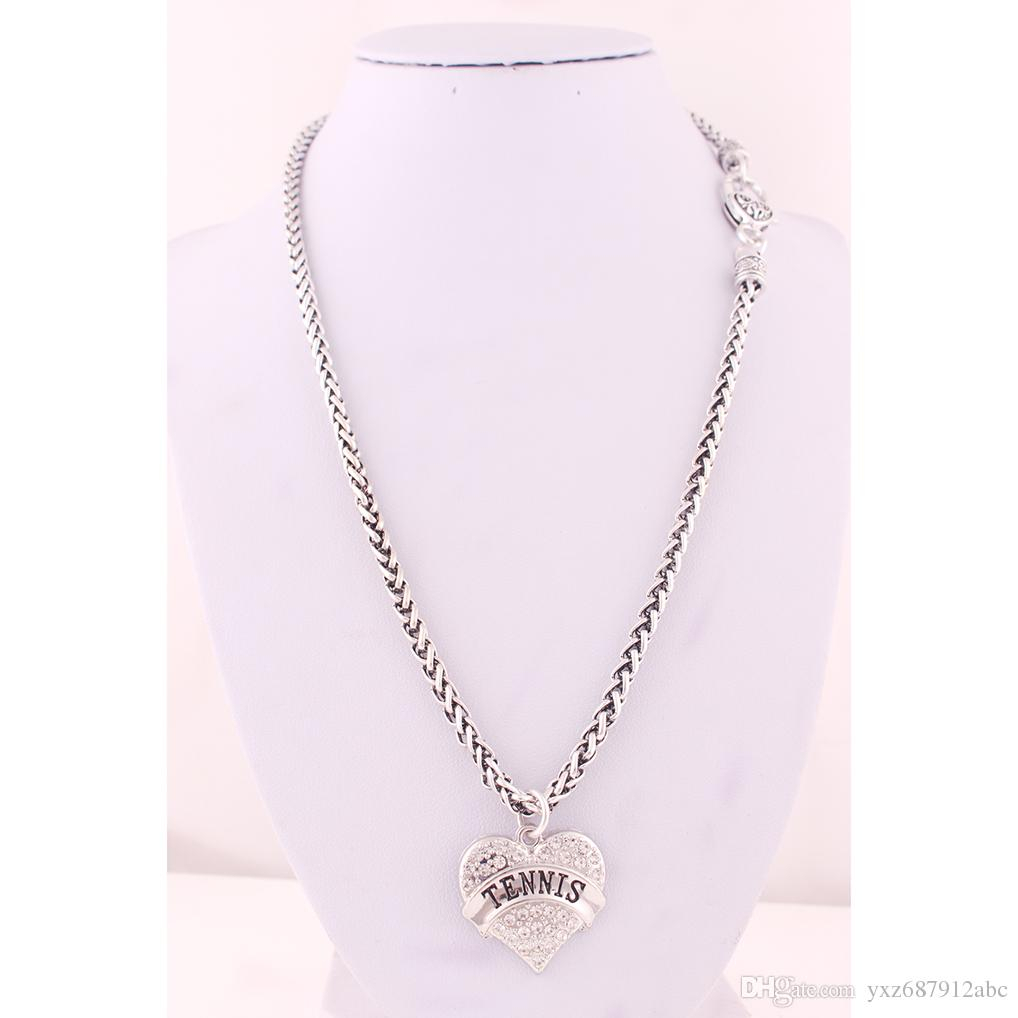New Arrival Rhodium Plated Zinc Studded With Sparkling Crystals Tennis  Heart Pendant With Wheat Link Chain Lobster Clasp Necklace Pertaining To 2020 Sparkling Pattern Necklaces (Gallery 6 of 25)