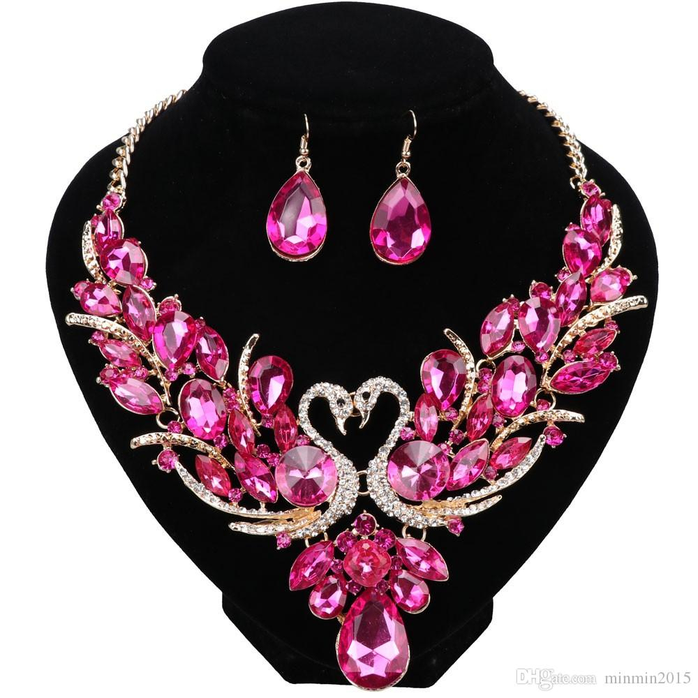 New Collier Luxury Pink Crystal Femme Double Swan Statement Necklace Earring For Women Party Wedding Jewelry Sets Throughout Latest Pink Pavé Butterfly Collier Necklaces (View 13 of 25)