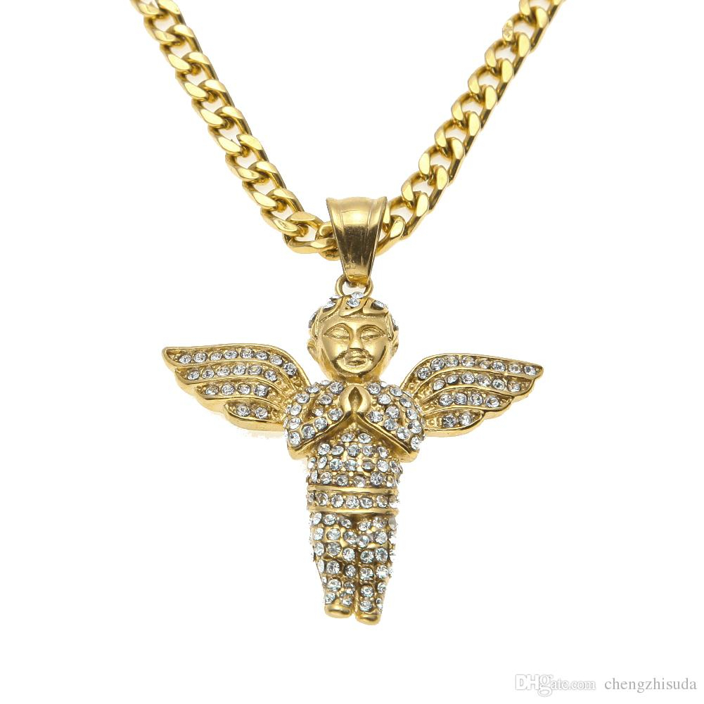 New Design Stainless Steel Gold Iced Out Bling Mini Baby Angel Piece Wings  Pendant 24 / (View 18 of 25)