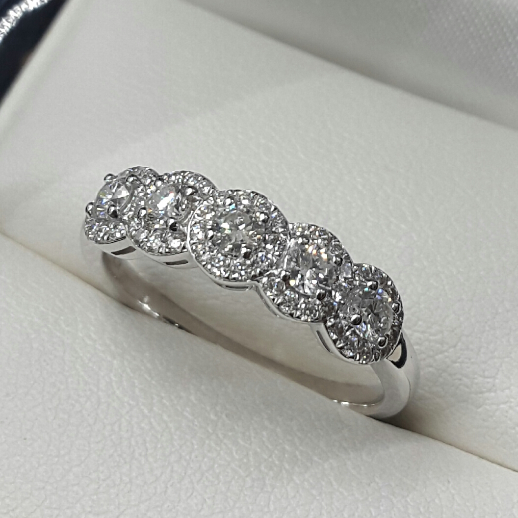 New Diamond Set Rings For Most Recently Released Diamond Three Row Collar Anniversary Bands In White Gold (Gallery 1 of 25)