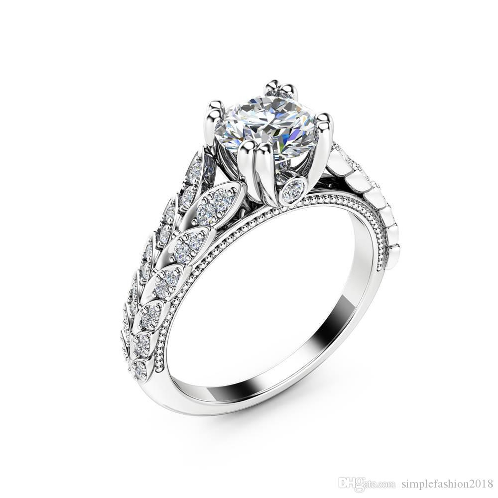 New Double Row Leaf Diamonique Cz Wedding Brand Ring White Gold Filled  Jewelry Finger Ring For Women Engagement Size 6 10 Within Most Recently Released Diamond Seven Row Anniversary Rings In White Gold (View 15 of 25)
