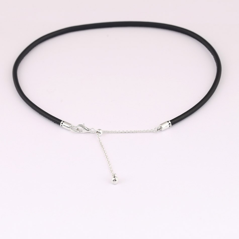 New Leather Choker With Adjustable Sliding Clasp Necklace For Women Wedding Gift Diy Jewelry 925 Sterling Silver Necklace Within Newest Woven Fabric Choker Slider Necklaces (Gallery 20 of 25)