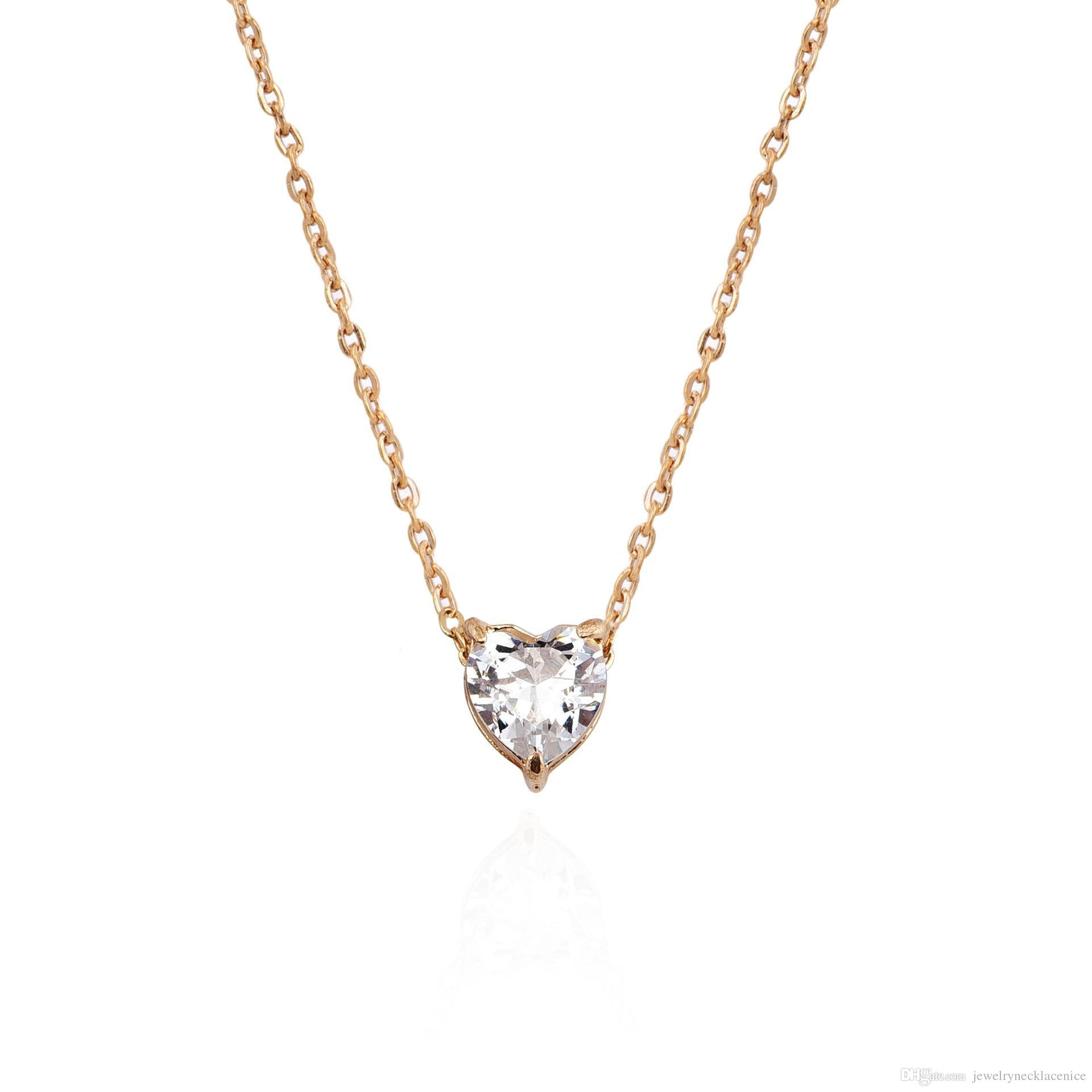 Newcrystal Heart Pendant Necklace Women Female Short Gold Chain Necklace Pendant Necklace Crystal Heart Chocker Jewelry Gift Cheap Wholesale Pertaining To Newest Ice Crystal Heart Collier Necklaces (View 4 of 25)