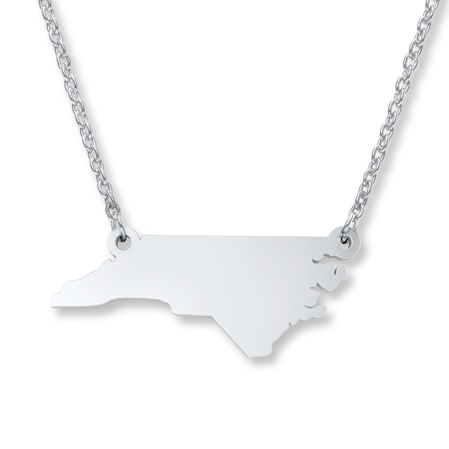 North Carolina State Necklace Sterling Silver Pertaining To Newest Family Script Locket Element Necklaces (Gallery 2 of 25)