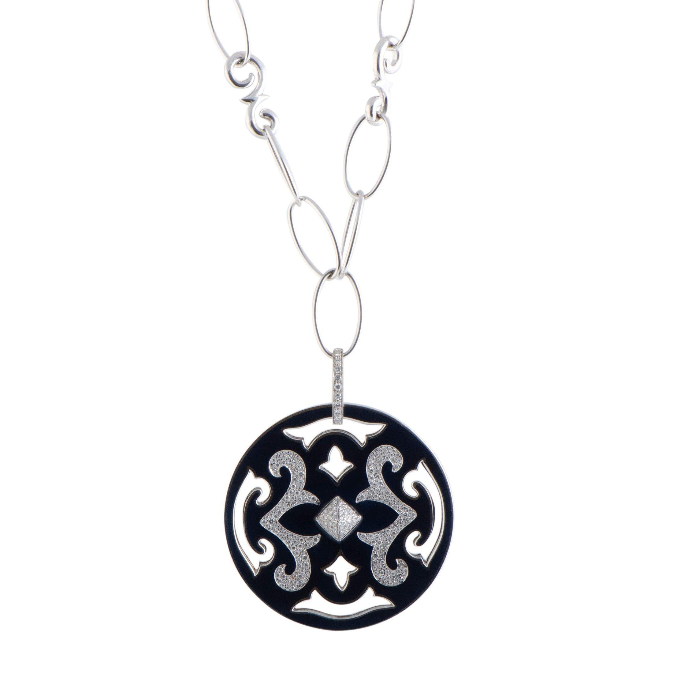 Nouvelle Bague 18K White Gold Diamond Pave And Black Enamel Round Pendant  Long Necklace Inside Current Pavé Star Locket Element Necklaces (Gallery 16 of 25)