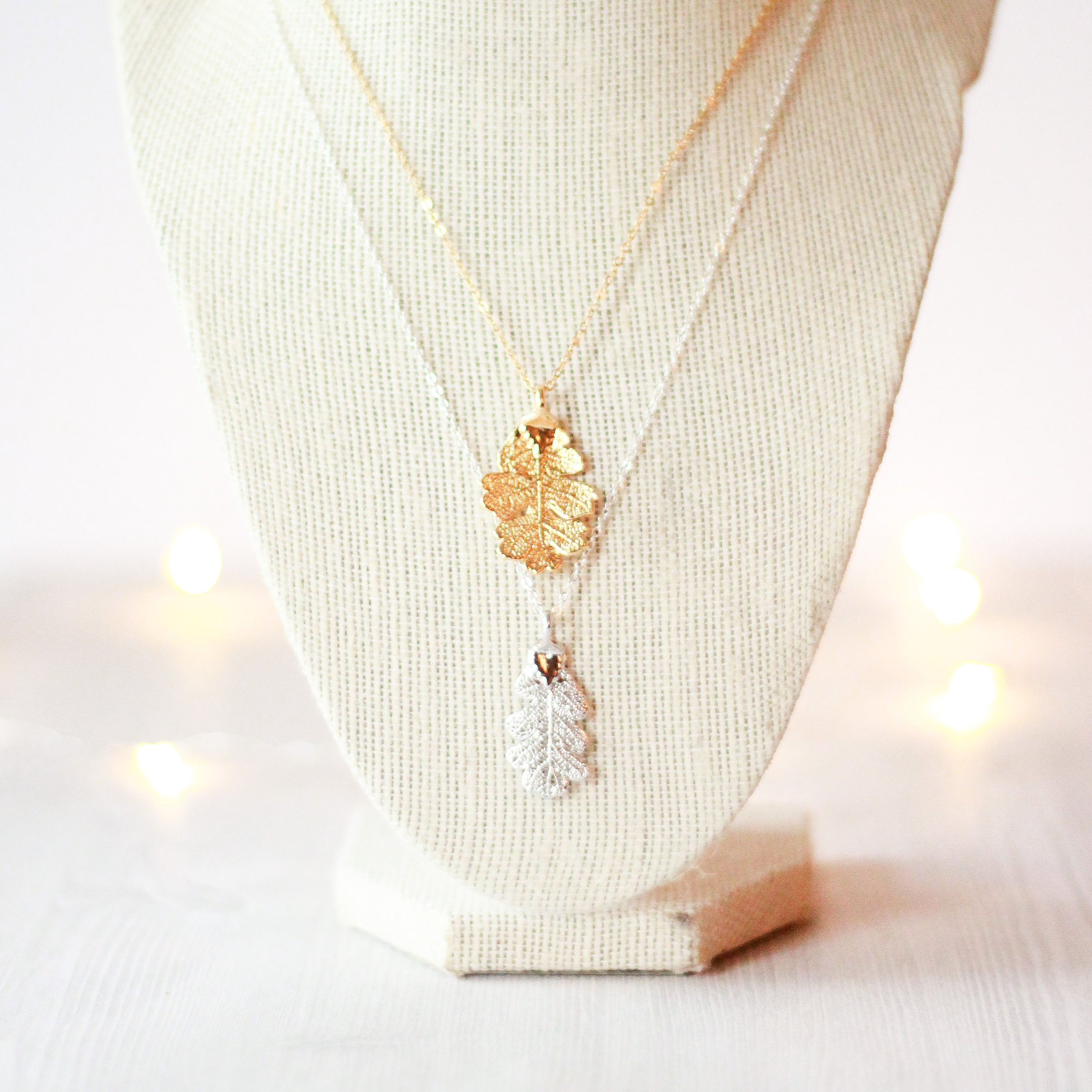 Oak Leaf Necklace | Real Leaf Necklace, Gold Leaf, Silver Leaf, Nature Jewelry, Bridesmaid Jewelry, Bridesmaid Necklace, Bridesmaid Gift For Most Current Oak Leaf Necklaces (View 23 of 25)